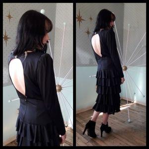 Stunning vintage 80's I Magnin black ruffle dress!